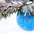 Blue ball on fir branch — Stok fotoğraf