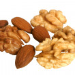 Almonds and walnuts — Stock Photo