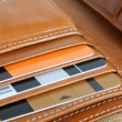 Open leather purse — Stock Photo