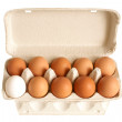 Stock Photo: Open box with eggs