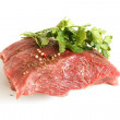 Fresh raw beef meat with spices — Stock Photo