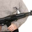 Man with AK-105 machine gun — Stock Photo
