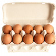 Open box with eggs — Stock Photo