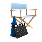 Megaphone, chair and clapboard — Stock Photo