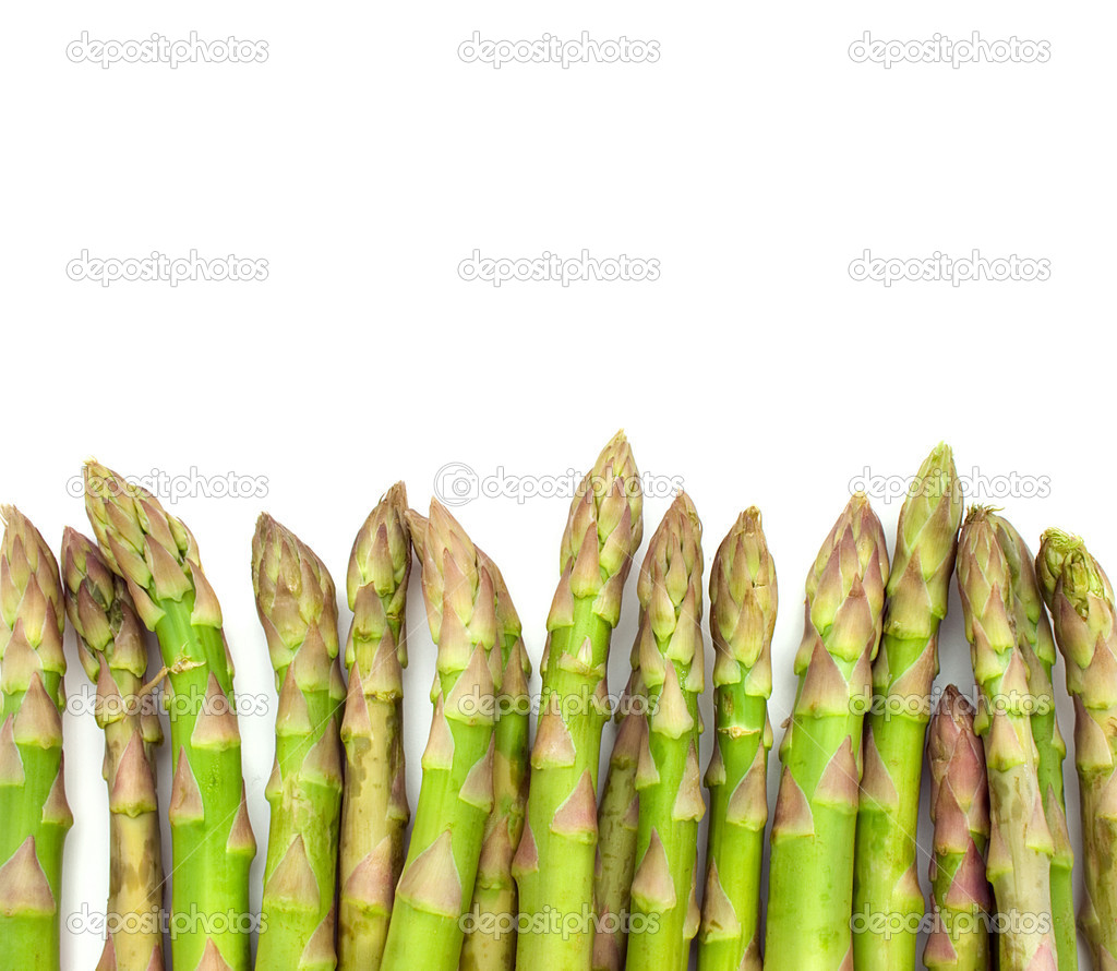 Green asparagus on white background  Stock Photo #1219351