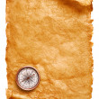 Royalty-Free Stock Photo: Paper scroll and compass