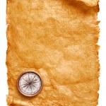 brújula y papel pergamino — Foto de Stock