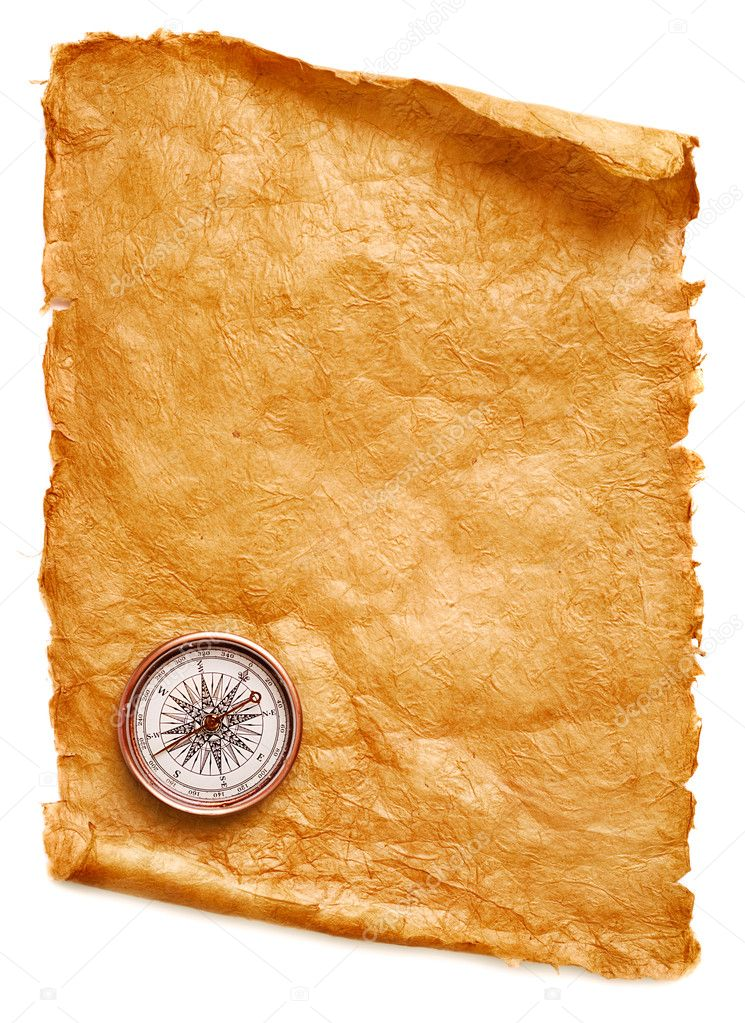 Paper scroll and compass on white background — Stock Photo #1220016