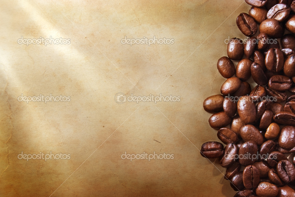 Coffee beans on vintage paper  Stock Photo #1292874
