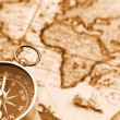 Compass on old map — Stock Photo #1300690