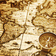 Compass on vintage map — Stock Photo #1300753