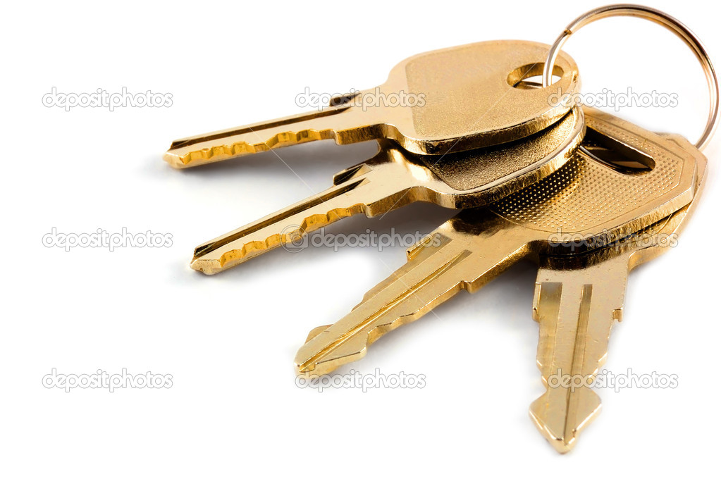 A bunch of keys isolated against a clean white background — Stock Photo #1200283
