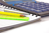 Notebook,ballpen and calculator — Stock Photo
