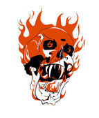 Skull on fire. — Stock Vector