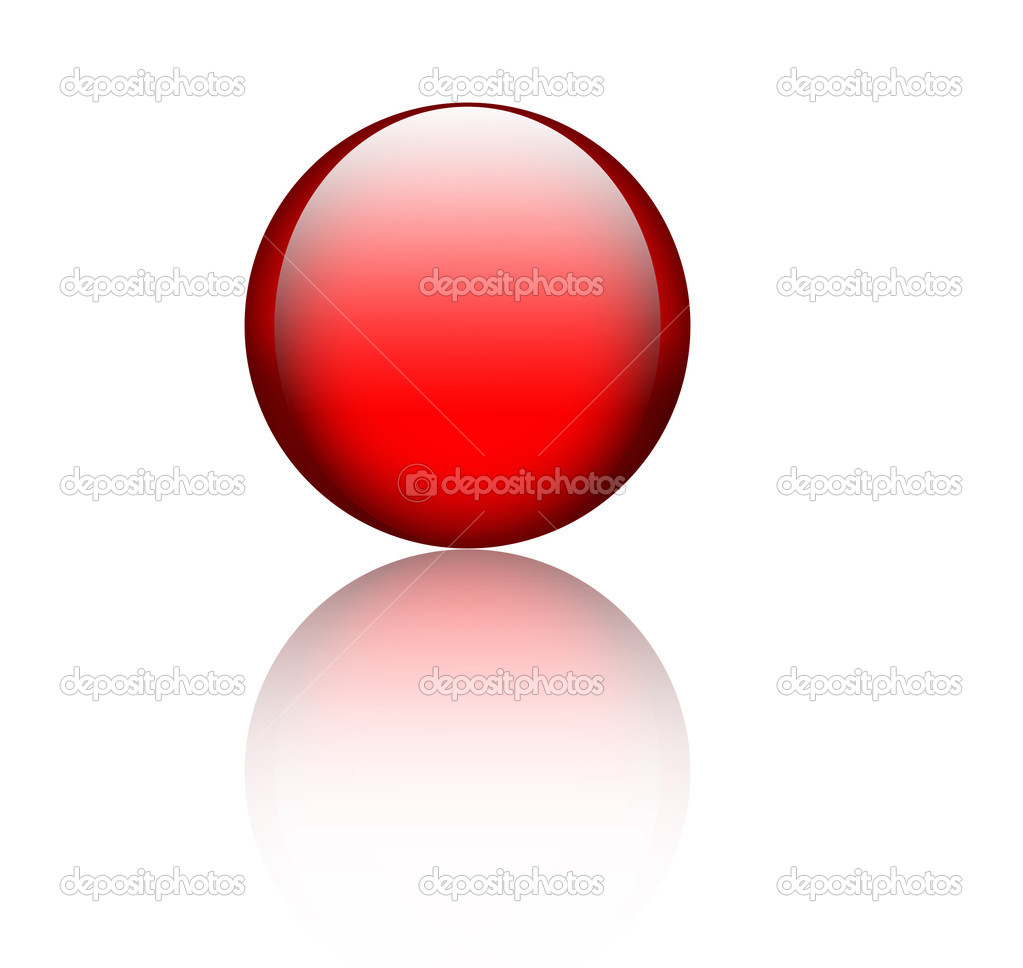 Red glass sphere with reflection over white  Stock Photo #2593339