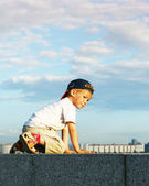 Little boy on a quay — Stock Photo