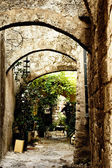 Medieval street in Old city of Rhodes island. Greece — Stok fotoğraf