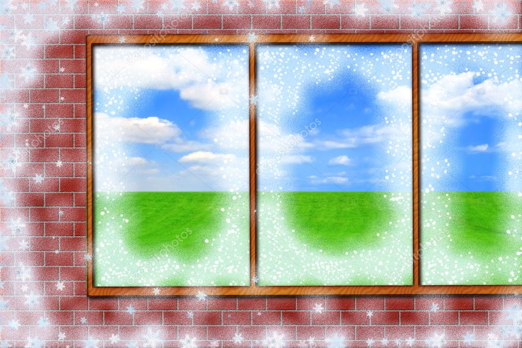 Window out of winter in summer — Stock Photo #1248420