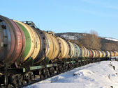 The transportation of oil by rail — Stock Photo