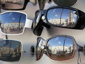 City in reflections — Stock Photo