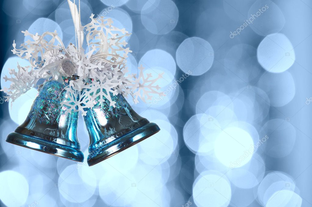 Christmas bells against defocused background with shallow depth of field and copyspace — Stock Photo #1189869