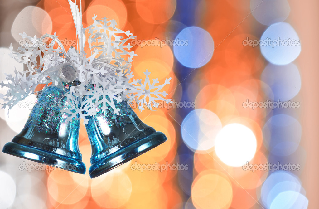 Christmas bells against defocused background with shallow depth of field and copyspace — Stock Photo #1189916