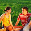 Stock Photo: Couple on picnic