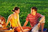 Couple on picnic — Stock Photo