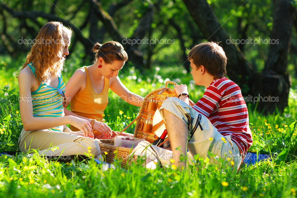 Friends on picnic at sunny day  — Stock Photo #1200434