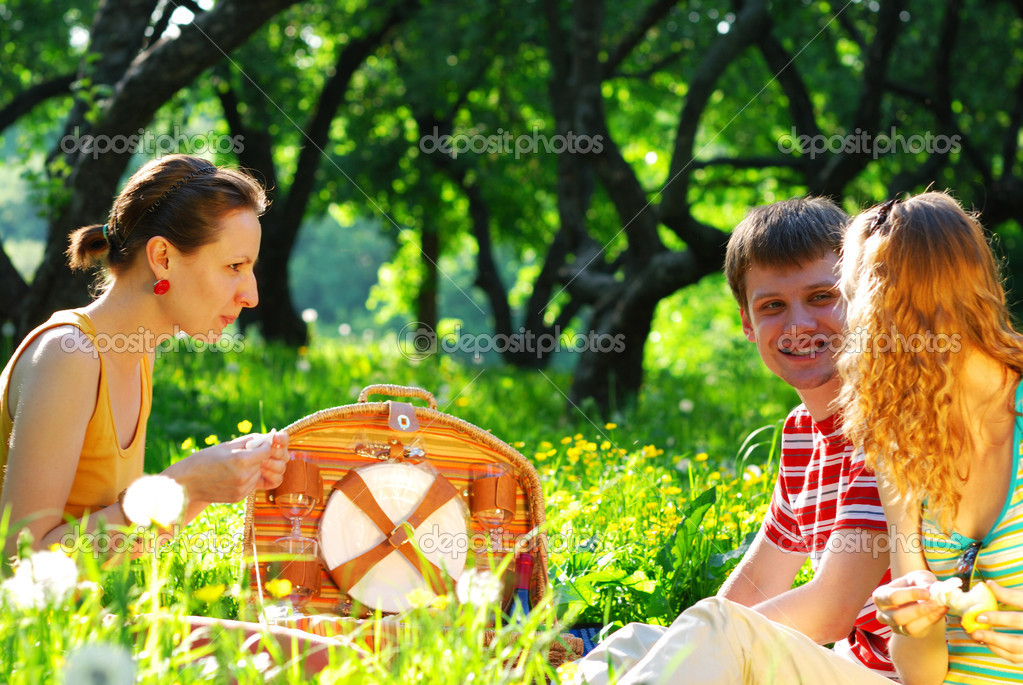 Friends on picnic at sunny day  — Stock Photo #1200458