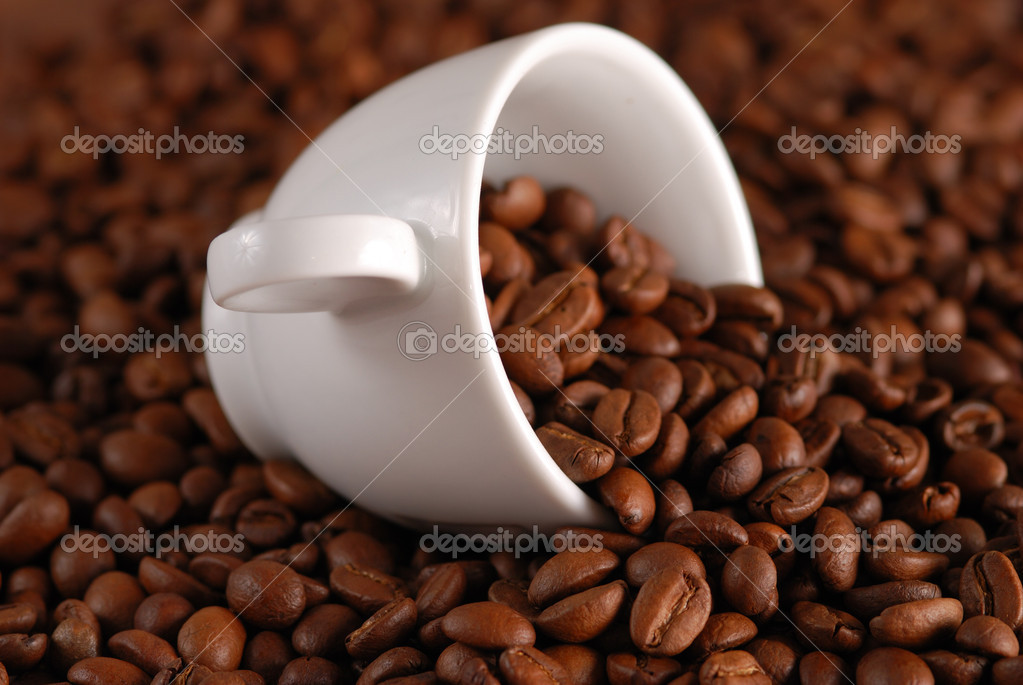 Coffee beans and white cup  Stock Photo #1200852