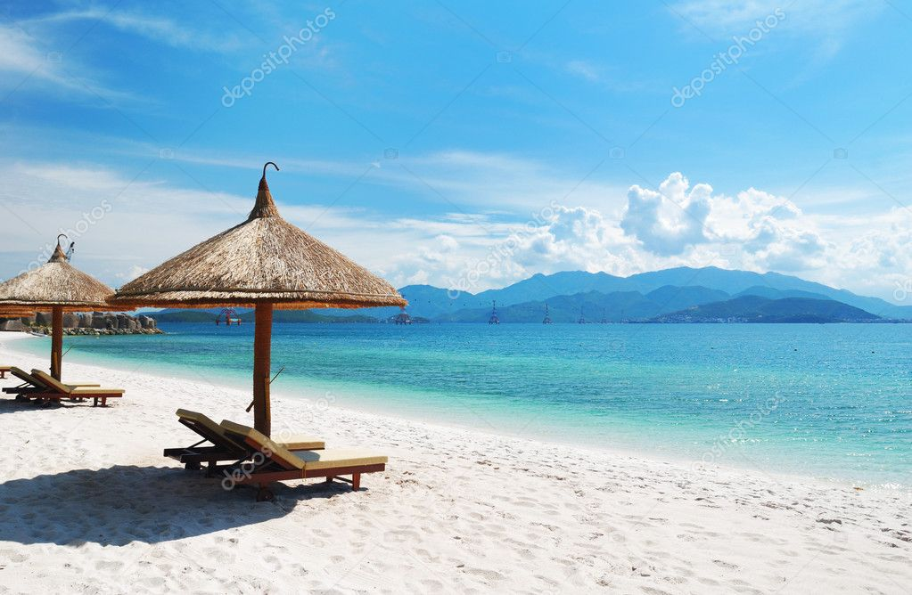 Beach Scene, Tropics, Pacific ocean — Stock Photo #1216704