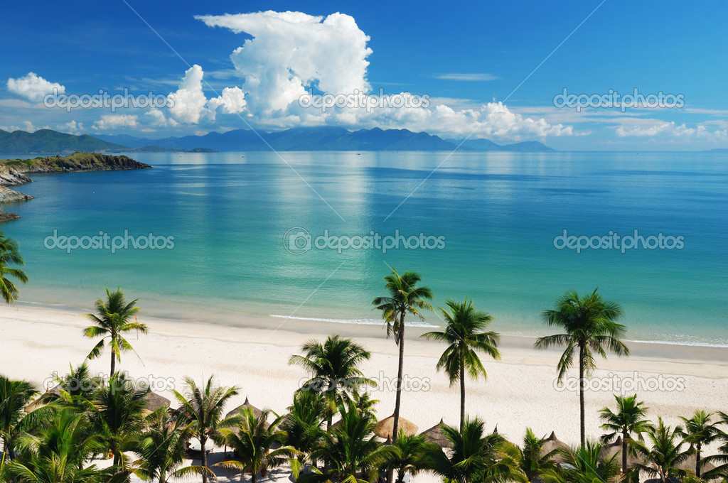 Beach Scene, Tropics, Pacific ocean — Stock Photo #1216797