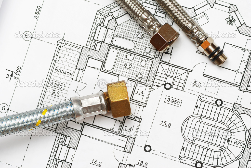 Pipes over house plan blueprints  Stock Photo #1217616