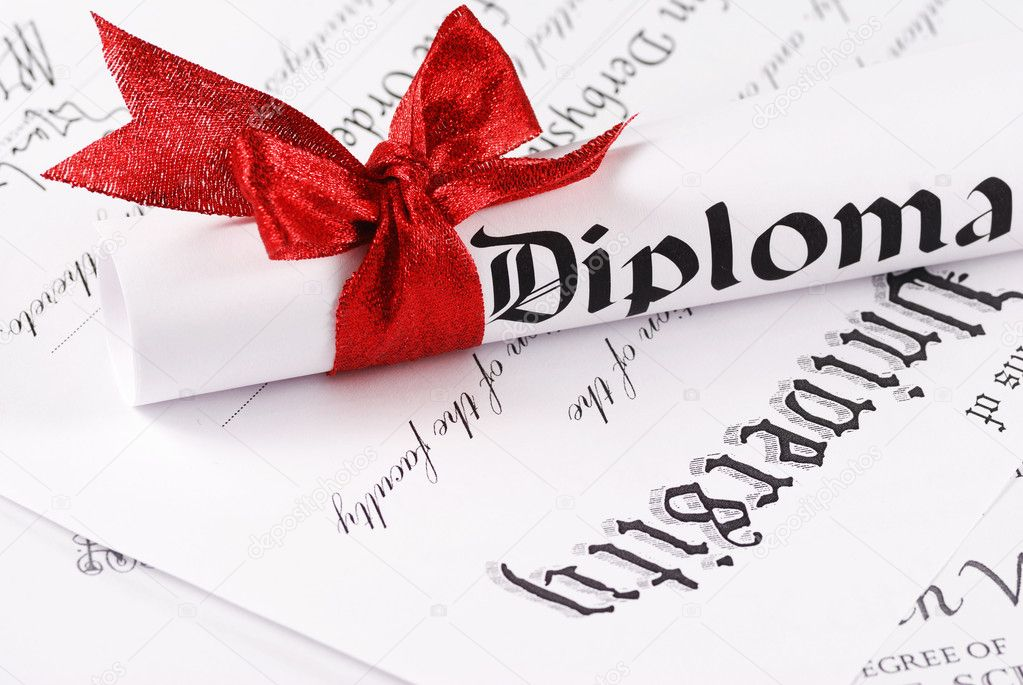 Graduation Diploma, shallow depth of field  Stock Photo #1218054