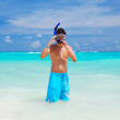 Snorkel man in caribbean sea — Stock Photo #1538977