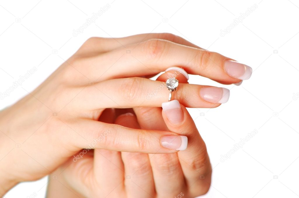 Woman tries on her diamond engagement ring  Stok fotoraf #1540744