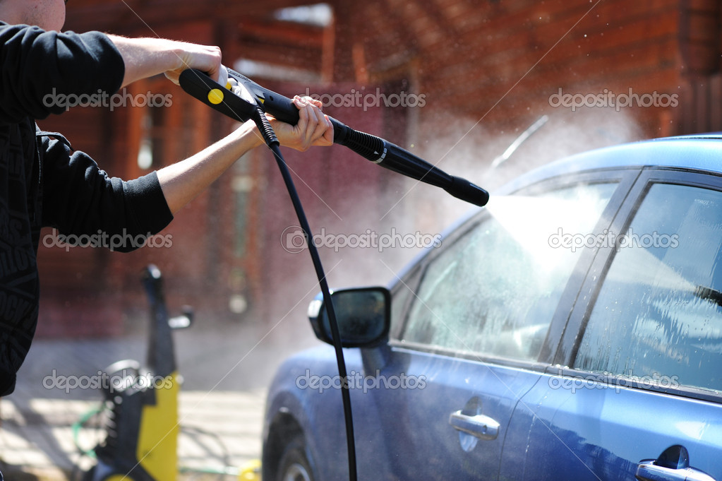 Blue car washing on open air — Stock Photo #1541525