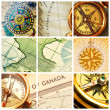 Royalty-Free Stock Photo: Compass and map collage