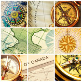 Compass and map collage — Stock Photo