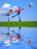 Couple with balloons — Stock Photo