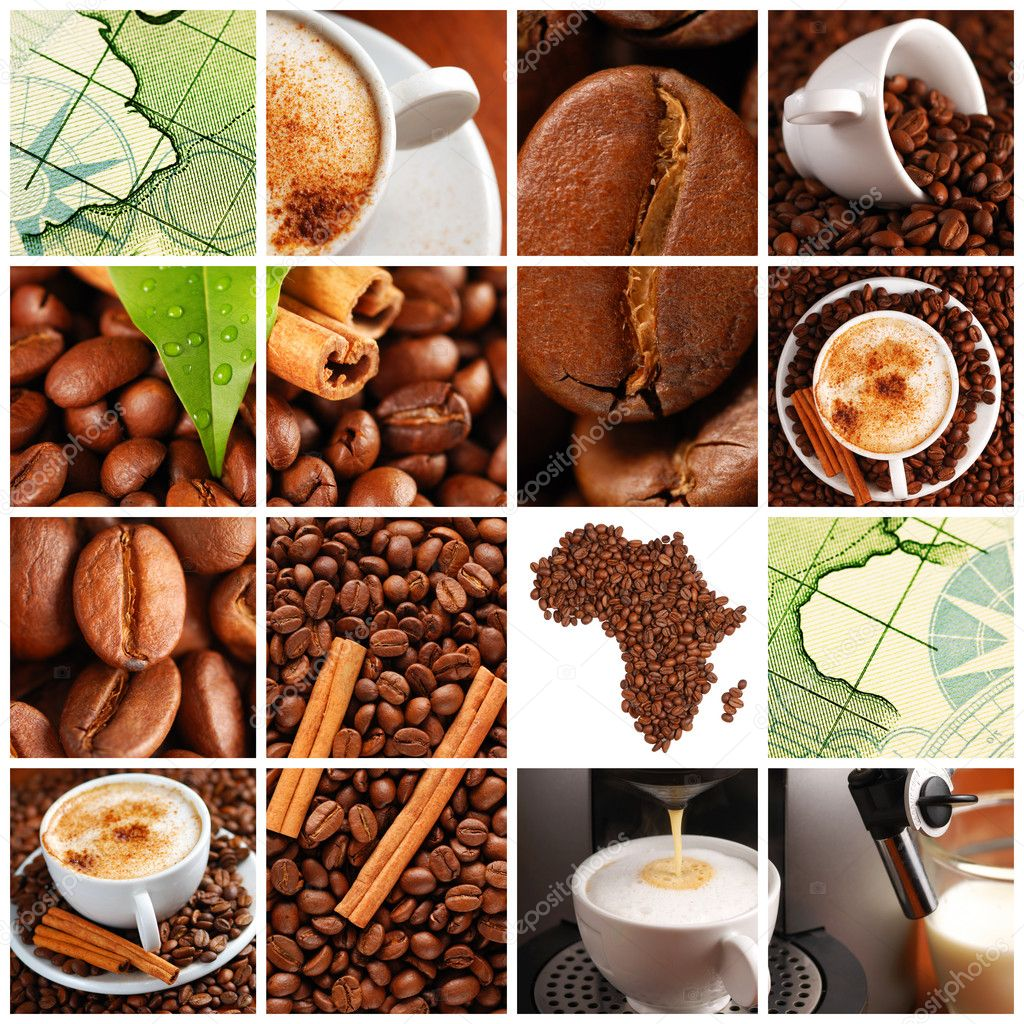 Collage made with coffee beans, cups and other — Stockfoto #1571314