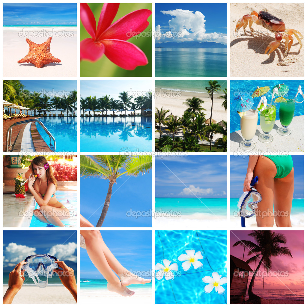 Collage made with beautiful tropical resort shots — Stock Photo #1571722