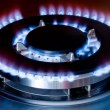 Burning gas oven in kitchen — Stock Photo