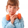 Little girl with dumbbell — Stock Photo #1586434