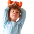 Little girl with dumbbell — Stock Photo #1586447