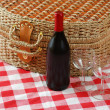 Picnic basket with wine and glasses — Stock Photo #1595887