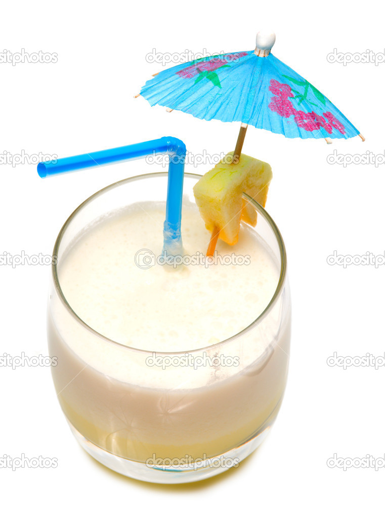 Pina colada cocktail with umbrella isolated on white background — Stock Photo #1594953