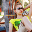 Relax in hammock — Stock Photo