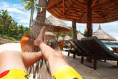 Relax in hammock — Stock Photo